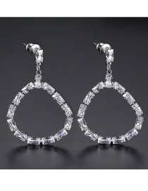 Fashion Platinum Copper Inlaid Zircon Jade Earrings