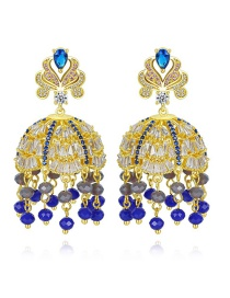 Fashion Blue Zircon Full Tassel Earrings