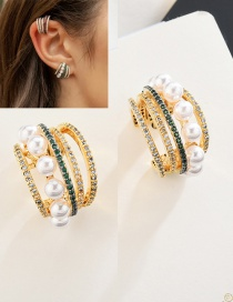 Fashion Pearl S925 Sterling Silver Needle Multi-layer Semi-circular Pearl Earrings