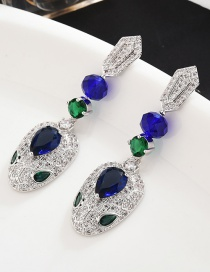 Fashion Blue S925 Sterling Silver Needle Micro-inlaid Zircon Snake Earrings