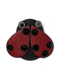 Fashion Red Ladybug Leather Brooch