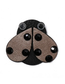 Fashion Brown Ladybug Leather Brooch