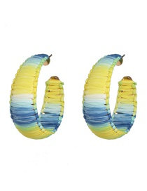 Fashion Yellow C-shaped Raffia Acrylic Earrings
