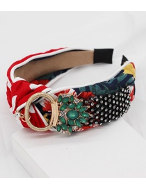 Fashion Red Rhinestone Cross Headband