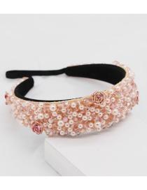 Fashion Pink Crystal Porcelain Flower Headband