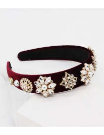 Fashion Wine Red Diamond Headband