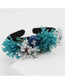 Fashion Blue Crystal Fringed Geometric Flower Headband