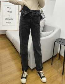 Fashion Black Diagonal Black Jeans
