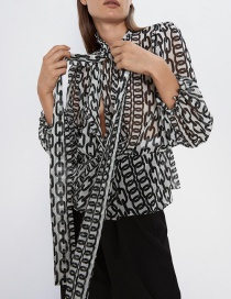 Fashion Black Bow-tie Printed Blouse