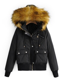 Fashion Black Fur Collar Cotton Coat