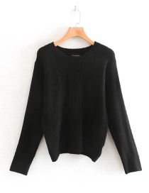 Fashion Black Diamond Checkered Round Neck Sweater