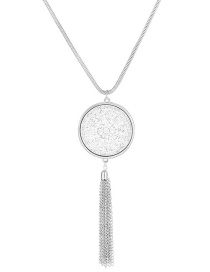 Fashion Silver Round Fringed Sweater Chain
