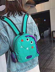 Fashion Small Blue Green Cartoon Dinosaur Oxford Backpack