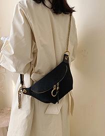Fashion Black Embroidery Line Rhombic Slung Shoulder Chest Bag