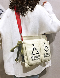 Fashion Beige With Pendant Multi-pocket Canvas Portable Messenger Bag