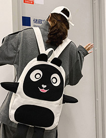 Fashion Black Panda Hand-painted Canvas Backpack