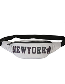 Fashion Silver Grey Reflective Letter Embroidery Crossbody Chest Bag