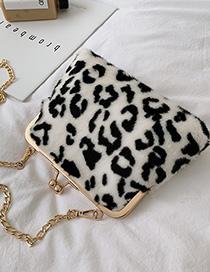 Fashion White Leopard Pinch Plush Chain Shoulder Messenger Bag