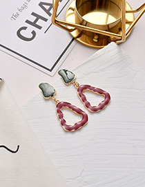 Fashion Red Geometric Mosaic Drop Glaze Earrings