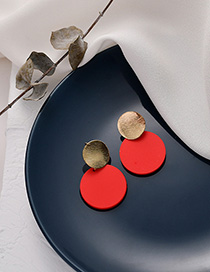 Fashion Red Round Stitching Earrings