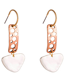 Fashion Ancient Red Copper + Sand Silver C-shaped Hollow Rectangular Triangle Earrings