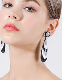 Fashion Black Striped Large Drop Earrings