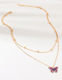 Fashion Color Butterfly With Diamond Necklace