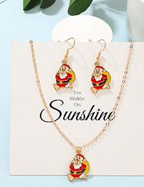 Fashion Gold Christmas Santa Claus Earrings Necklace Set