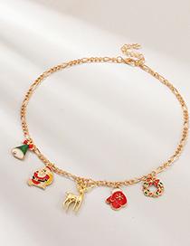 Fashion Gold Drip Santa Claus Elk Necklace