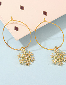 Fashion Gold Snowflake-studded Ring Stud Earrings