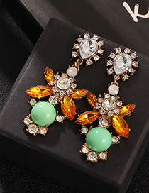 Fashion Color Crystal Gemstone With Diamond Stud Earrings
