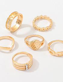 Fashion Gold Metal Round Letter Ring Set Of 6
