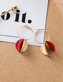 Fashion Red Geometric Curved Metal Round Earrings