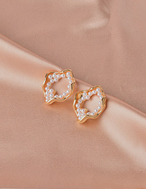 Fashion Gold Pearl Hollow S925 Earrings