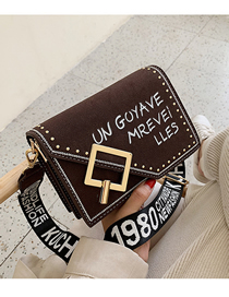 Fashion Coffee Frosted Letter Print Crossbody Bag