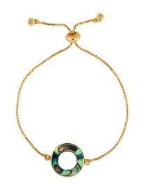 Fashion Ring Gold Natural Abalone Round Cutout Geometric Bracelet