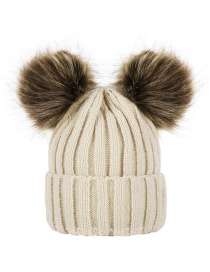 Fashion Beige Hat Double Ball Wool Hat