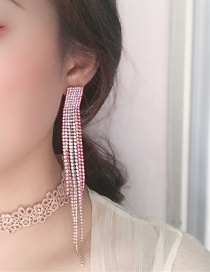 Fashion Color Alloy Studded Tassel Earrings
