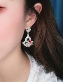 Fashion Color Alloy Hollow Diamond Stud Earrings