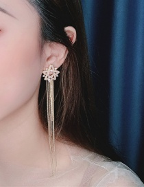 Fashion Yellow Hollow-studded Alloy Tassel Earrings