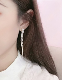 Fashion White Alloy Pearl And Diamond Earrings