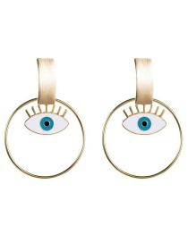 Fashion Gold Eye Circle Earrings