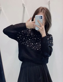 Fashion Black Pearl-trimmed Round Neck Pullover