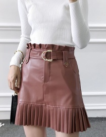 Fashion Brown Small Pleated Faux Leather Skirt