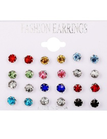 Fashion Color 12 Pairs Of Colored Diamond Earrings