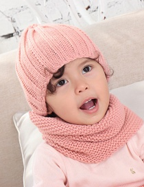 Fashion Leather Powder Children's Scarf Hat Two-piece