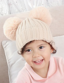 Fashion Beige Threaded Double-hair Ball Knitted Baby Hat