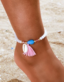 Fashion White Acrylic Rice Beads Rope Tassel Shell Anklet