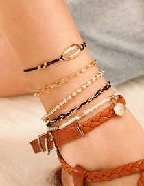 Fashion Gold Rice Beads Shell Multi-layer Chain Scallop Anklet 5 Piece Set