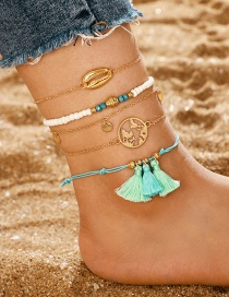 Fashion Gold Shell Fringed Multi-layer Earth Round Anklet 5 Piece Set